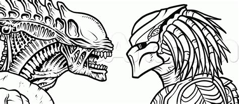 How To Draw Alien Vs Predator Step By Step Movies Pop Culture Free Online Drawing Tutorial Drawing Pages