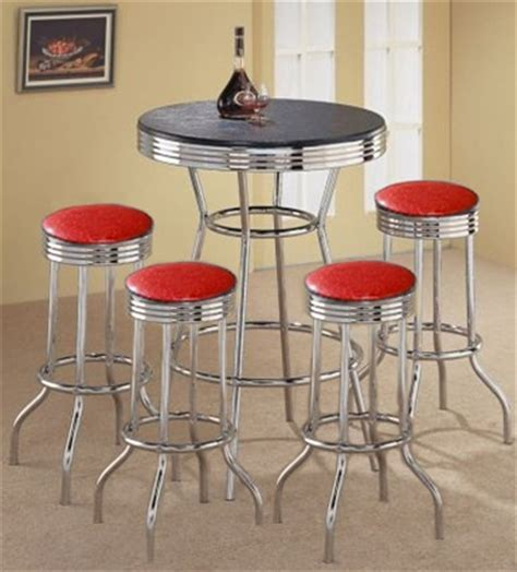 Vintage Bar Table And Stools The Furniture Cove 5 Retro Black Bistro Table Pub Set With 4 Glitter Vinyl
