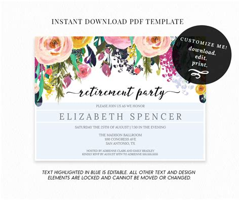 Editable Floral Retirement Party Invitation Template Retirement Email Template