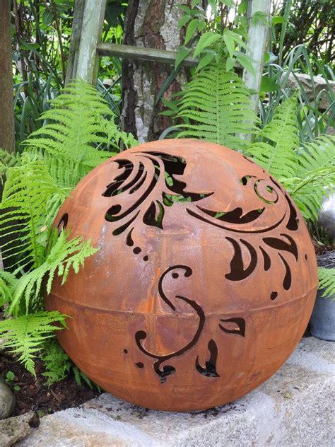 Garten Deko Kugel Rost by Details Zu Edelrost Kugel Mit Barockmuster 50 Cm