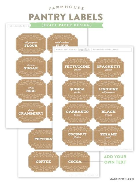 printable kraft stickers pantry labels pantry and farmhouse on pinterest