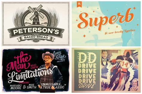 groovy  style fonts   vintage projects
