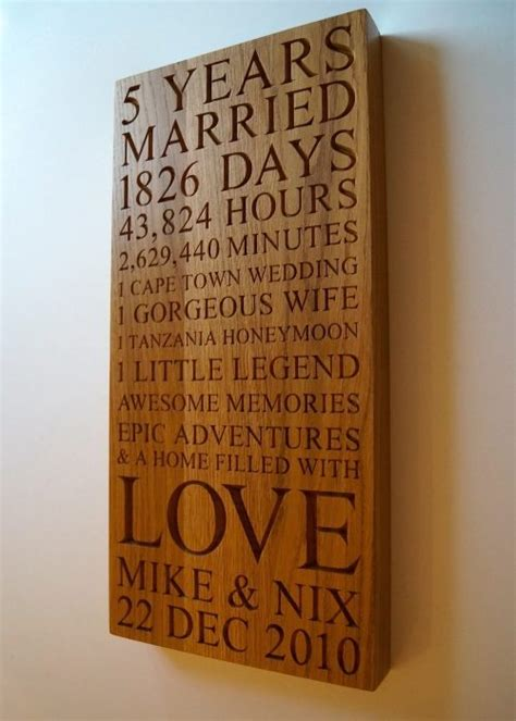 5th Wedding Anniversary Gifts Wood by Personalised Wooden Gifts Makemesomethingspecial