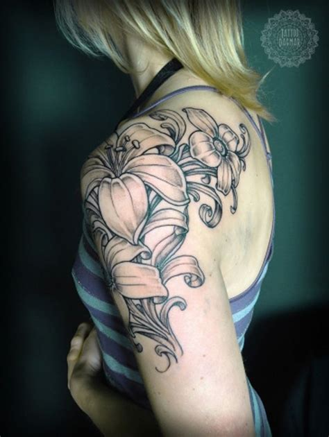 lily quarter sleeve tattoo 38 lily flower tattoo designs pretty designs