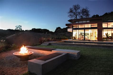 Fire Pit Ideas Landscape Modern With Exterior Concrete Bench Contemporary Firepit