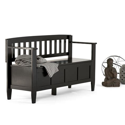 black storage bench simpli home brooklyn black storage bench 3axcbroben bl