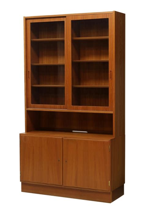 Bookcase With Sliding Glass Doors Teakwood Sliding Glass Door Bookcase Special Italian Mid Century Design Antiques