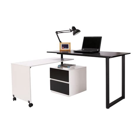 Homcom 52 85 Swivel Computer Table Desk Black White Swivel Laptop Desk