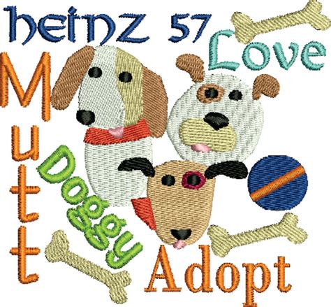 embroidery design dog embroidery design dog heinz 57 adopt a dog embroidery design 2