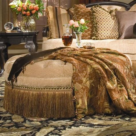 round tufted ottoman with fringe becky ottoman by rachlin classics ottomans pinterest