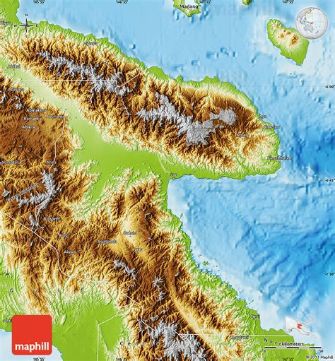 physical map of papua new guinea physical map of morobe