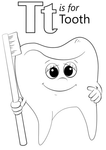 free printable tooth letter template letter t is for tooth coloring page free printable