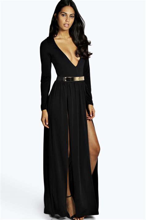 maxi dress with gold metal belt