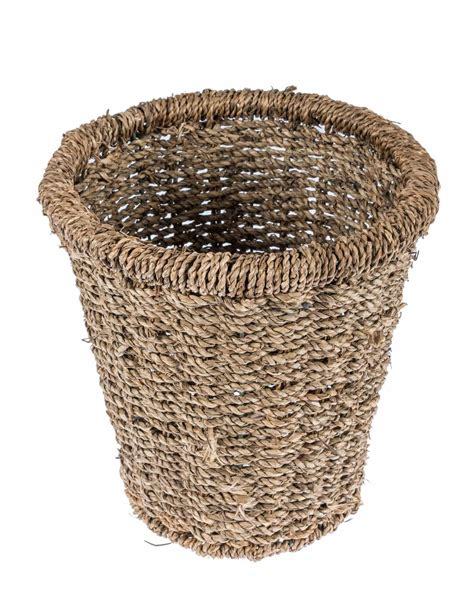 natural seagrass round wicker basket storage waste paper natural willow seagrass round wicker waste bin homescapes