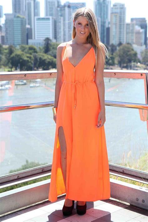 neon orange maxi dress floor length dresses