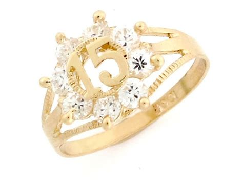 gold 15 birthday anos cz quinceanera ring jewelry jl 2391