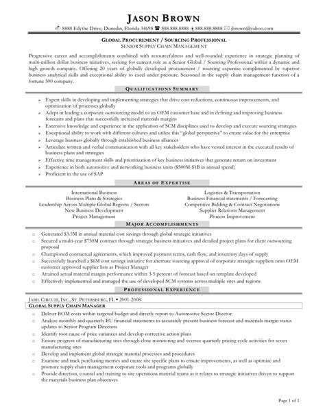Procurement Resume Format by Procurement Resume Sle Jobsxs