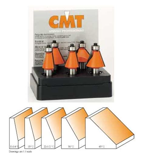 cmt woodworking tools cmt chamfer router bit set 1 2 quot shank 836 501 11 mike s