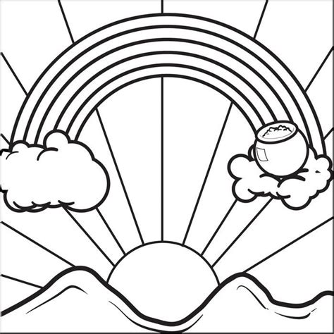 rainbow with pot of gold coloring pages coloring home