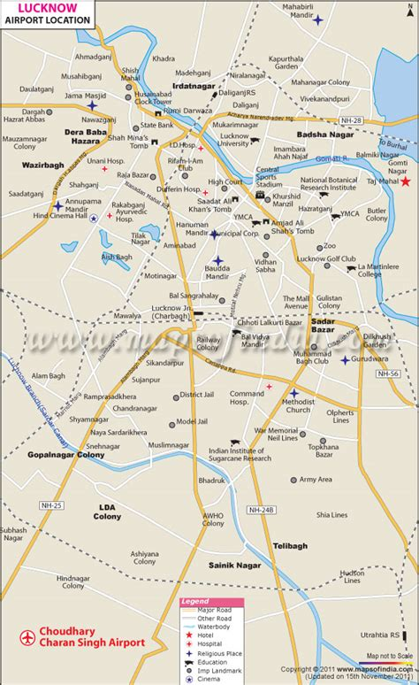 map of lucknow city lucknow airport map chaudhary charan singh international