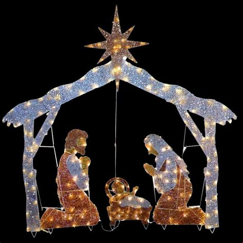 target nativity scene decorations national tree company 72 in nativity with clear lights df 250001u the home depot