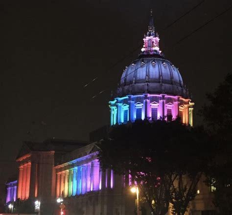 city lights sf club san francisco city hall lights up for pride rainbow