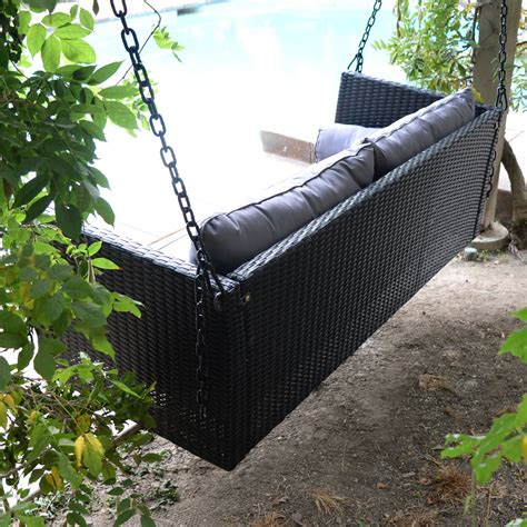 Patio Swing Hanger Black 69 5 Quot Patio Porch Swing Chair Resin Wicker Tree