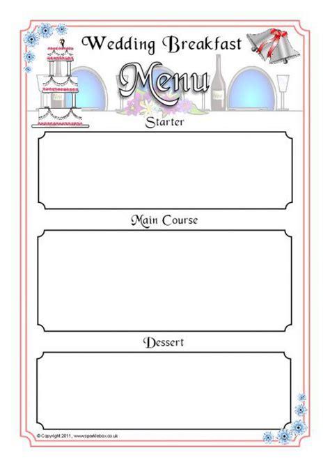 menu writing template wedding breakfast menu writing frames sb4464 sparklebox