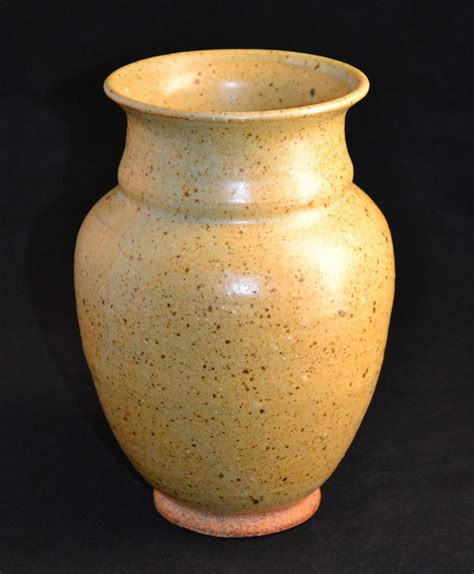 Mustard Vase W Glass Speckled Mustard Yellow Pottery Vase From
