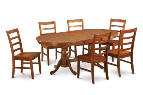 8 pc hamlyn rectangular double pedestal table dining room 7pc oval dining set table 42 x78 and 6 wood seat chairs in