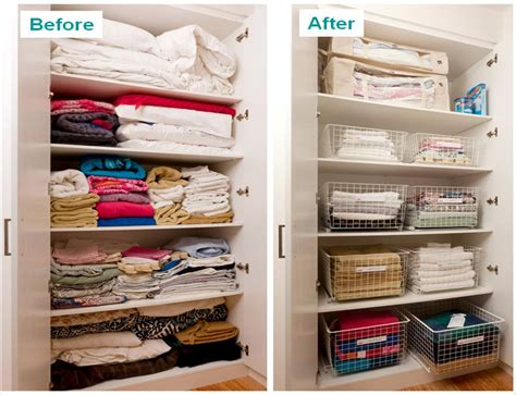 Guest Bedroom Sets - before and after linen cupboard