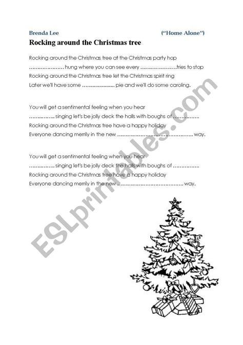 rocking around the christmas tree movies quot rocking around the tree quot from quot home alone quot song carol esl worksheet by m19m