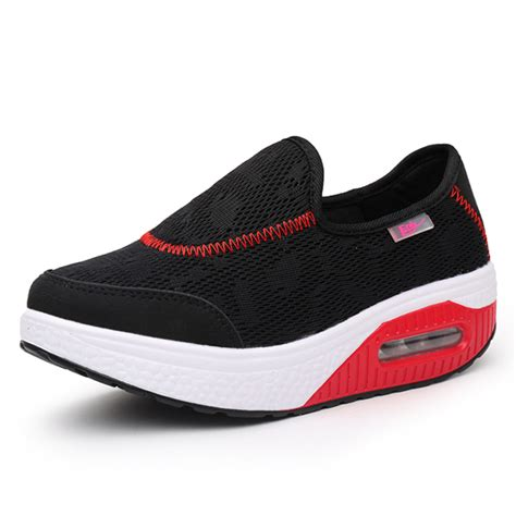running canvas shoes rocker sole shoes slip on sport casual running