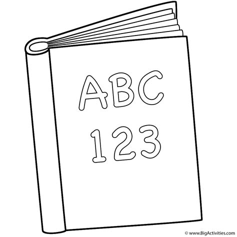 Abc And 123 Book Coloring Page Back To School Colouring Pages Book