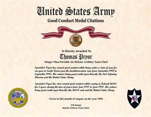 army conduct medal certificate template certificate image gallery