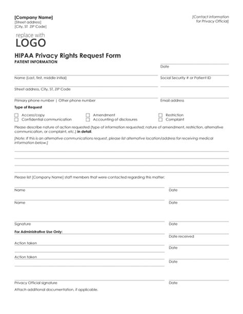 privacy form template hipaa privacy rights request form template microsoft word