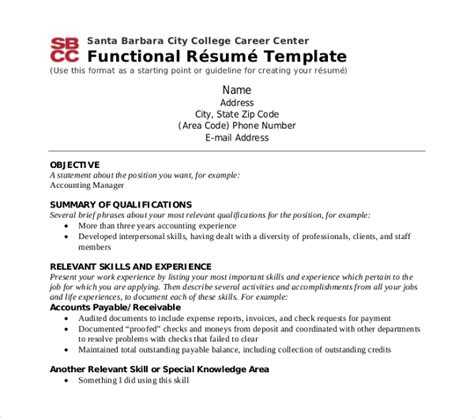 Functional Resume Template Pdf by 10 Functional Resume Templates Pdf Doc Free