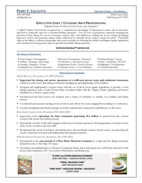 sample resume chef sample cook resume resume of an executive chef