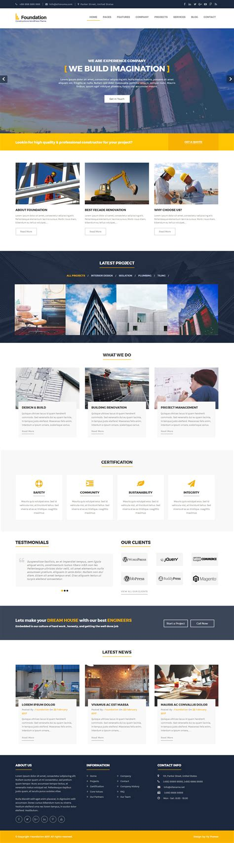 theme foundation foundation constructions wordpress theme flythemes