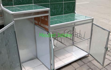 Meja Plat Aluminium jual meja dapur meja kompor 3 pintu rak piring model l