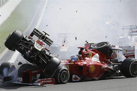 terrifying car crashes see the moment watched boyfriend lewis hamilton in terrifying four car crash mclaren