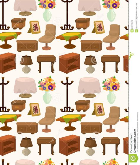 Extended Dining Table cartoon furniture seamless pattern stock images image