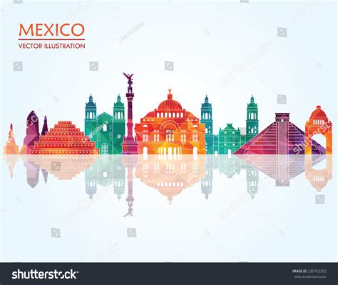 Address Finder Mexico Mexico Landmarks Skyline Vector Illustration 230763352