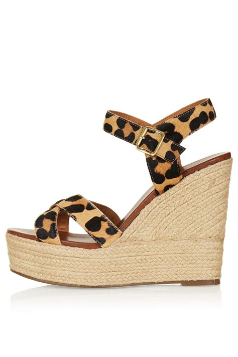 topshop leopard sandals topshop whispered cross wedges in brown lyst