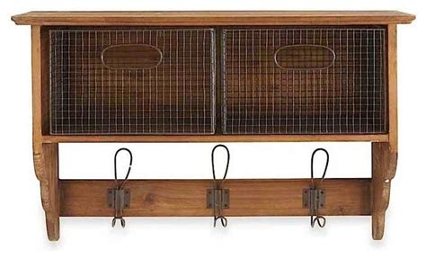 wood wall shelf with 2 wire baskets and 3 hooks rustic