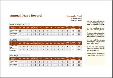 employee leaving card template employee annual leave record spreadsheet editable ms excel