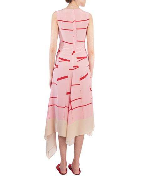 Striped Sleeveless Midi Dress akris sleeveless broken stripe midi dress