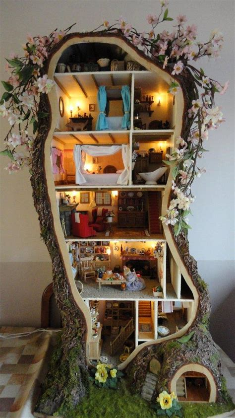 mouse doll house miniature mouse tree dolls house inspired by brambly hedge