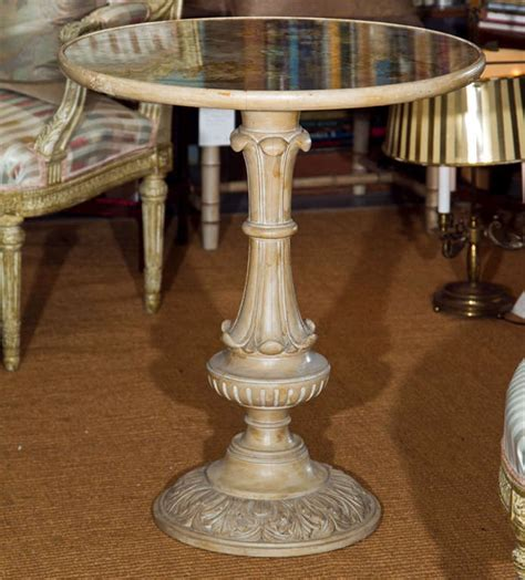 Decoupage Wood Table - bleached carved wood table with eglomise decoupage top at
