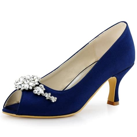 Navy Blue Bridal Heels by Navy Blue Peep Toe Evening Prom Mid Heels